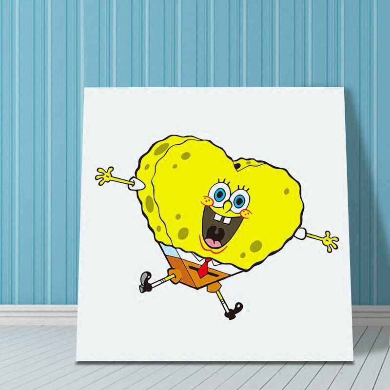 Cartoon SpongeBob SquarePants pictures DIY wall canvas oil painting ...