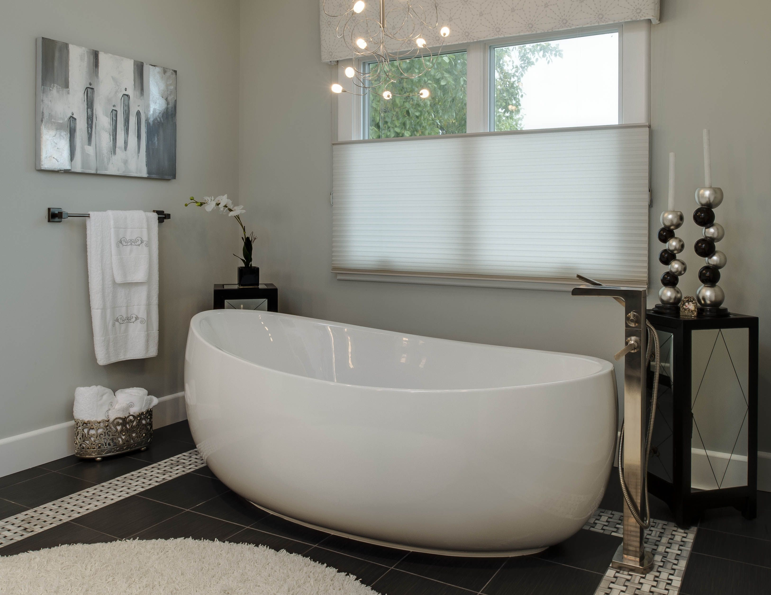 Master Bath- stand alone tub; heated floors; beautiful accent pieces