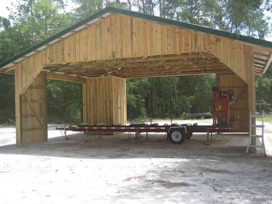 Sawmill sheds woodmizer pinterest more barn and for Wood pole barn plans free