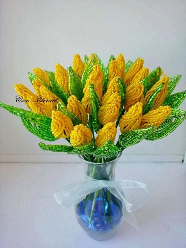 Тюльпаны из бисера мастер-класс
