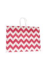 Large Gift Bag - Red/White Chevron