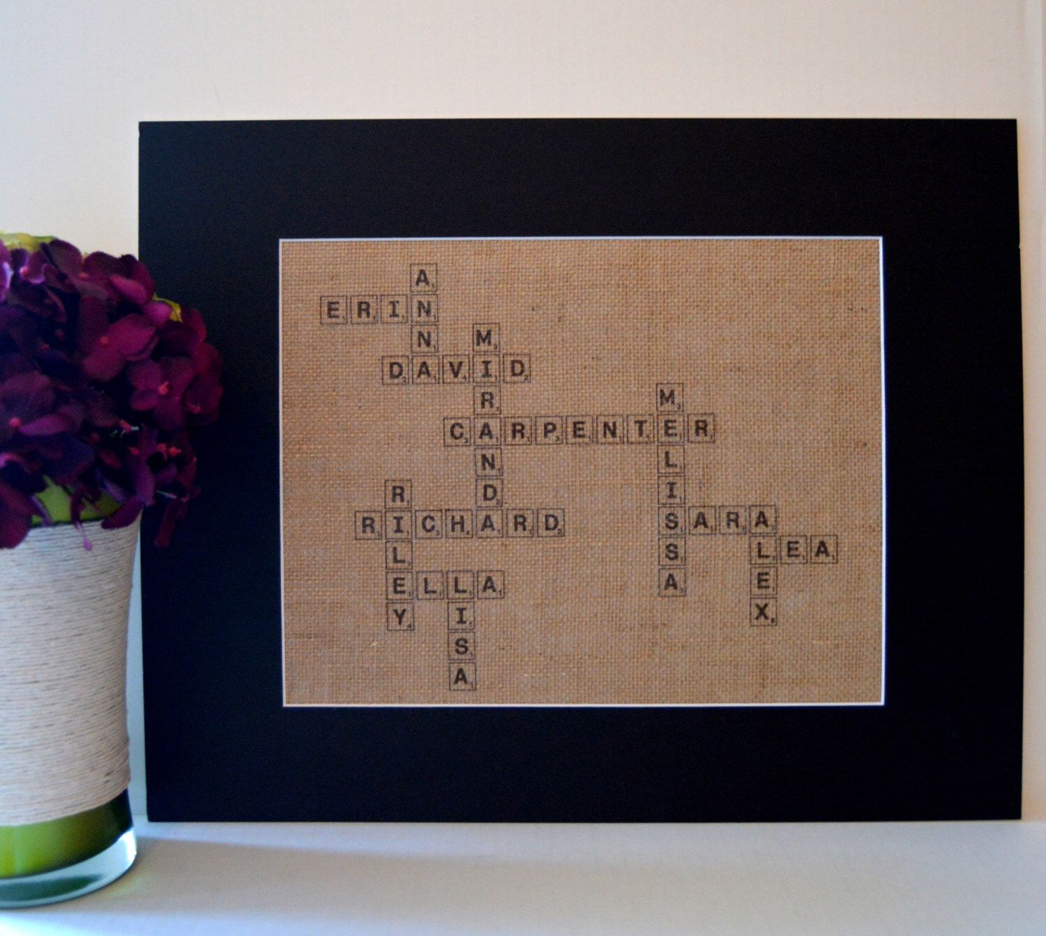 Scrabble Names Wall Art Scrabble Wall Art Large Burlap Print With Family Names In