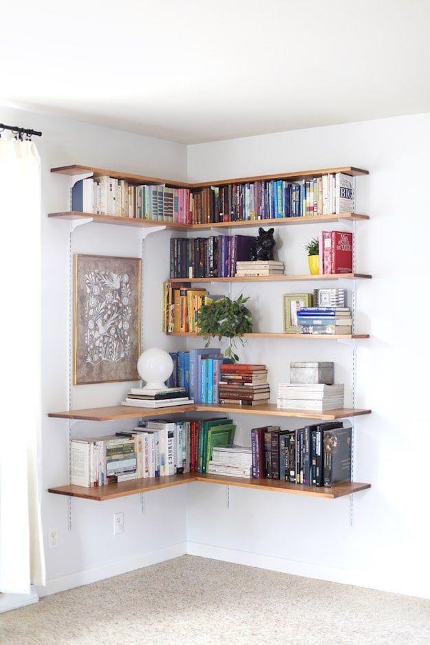 Simple Living Room Design 13 simple living room shelving ideas | floating corner shelves