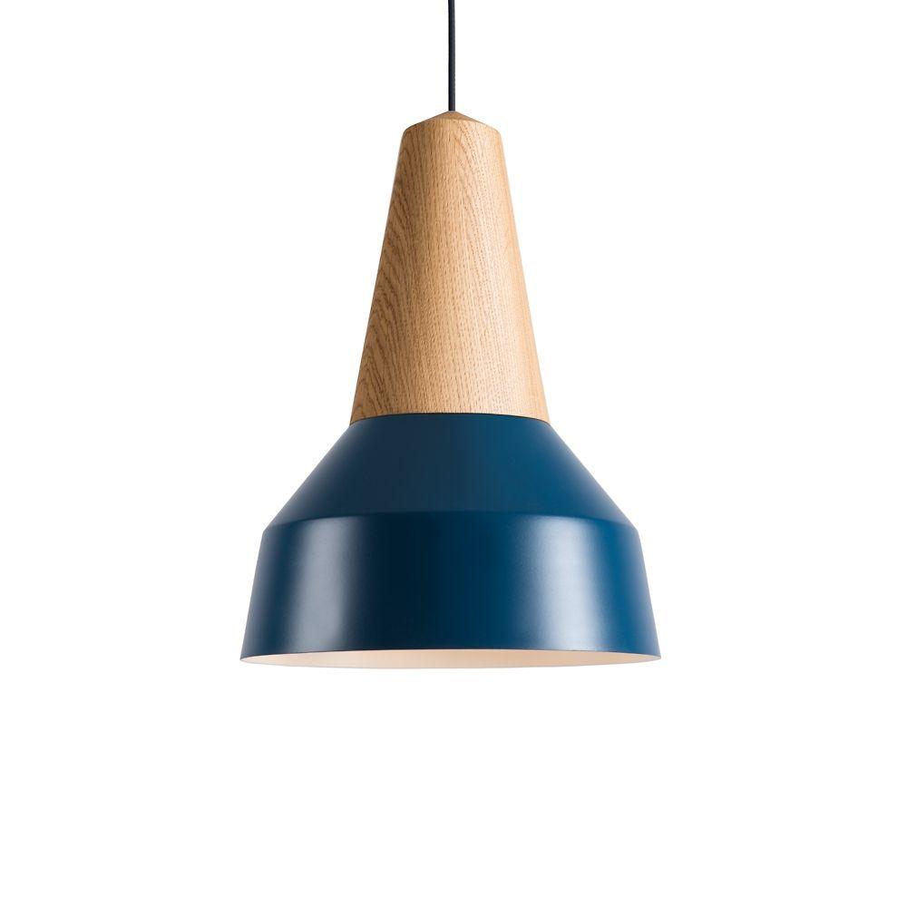 EIKON BASIC Pendelleuchte Holz / Eiche und Stahl / nordisch Blau ...