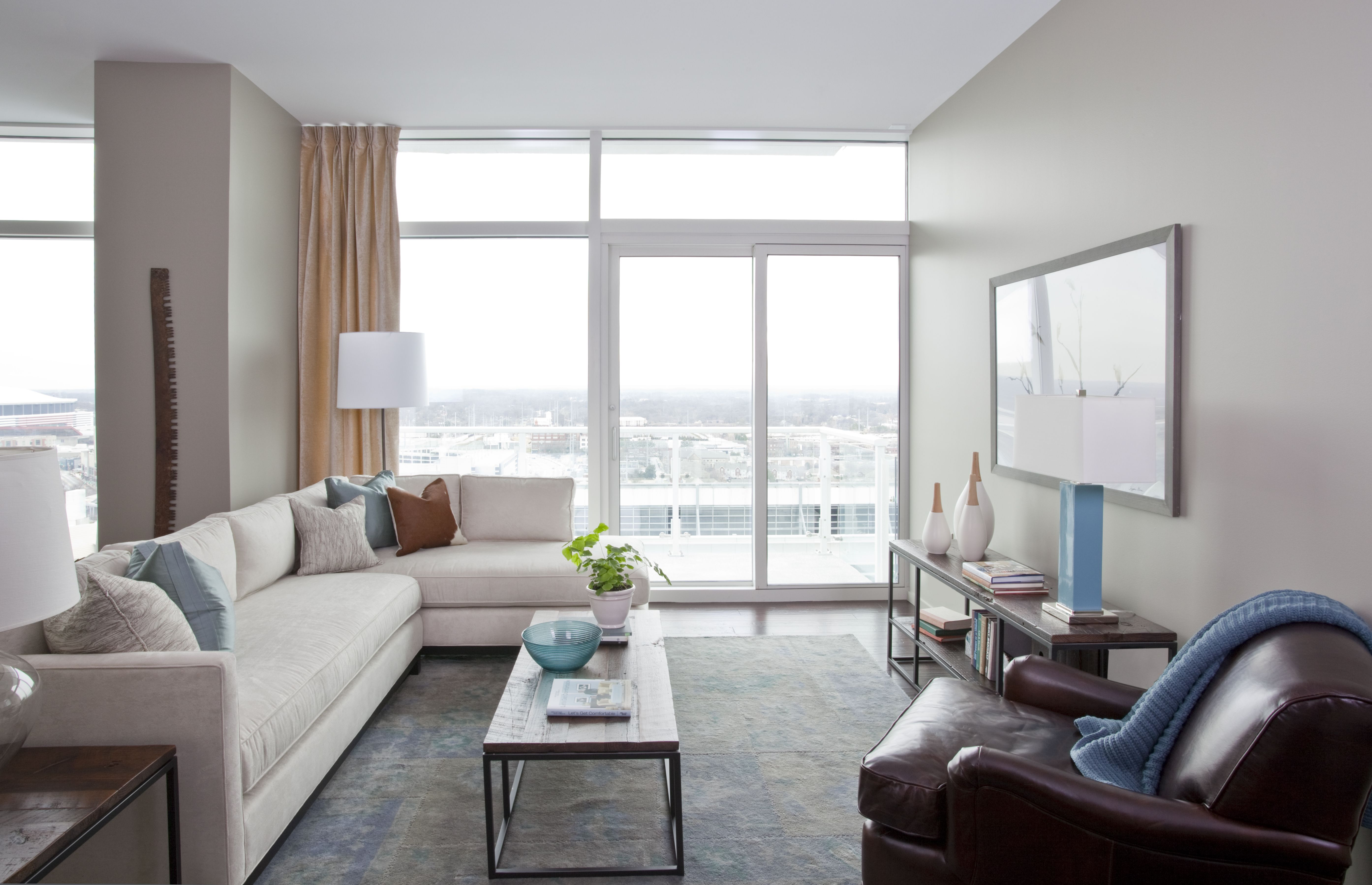a seating area inside one of the model homes at the residences at w