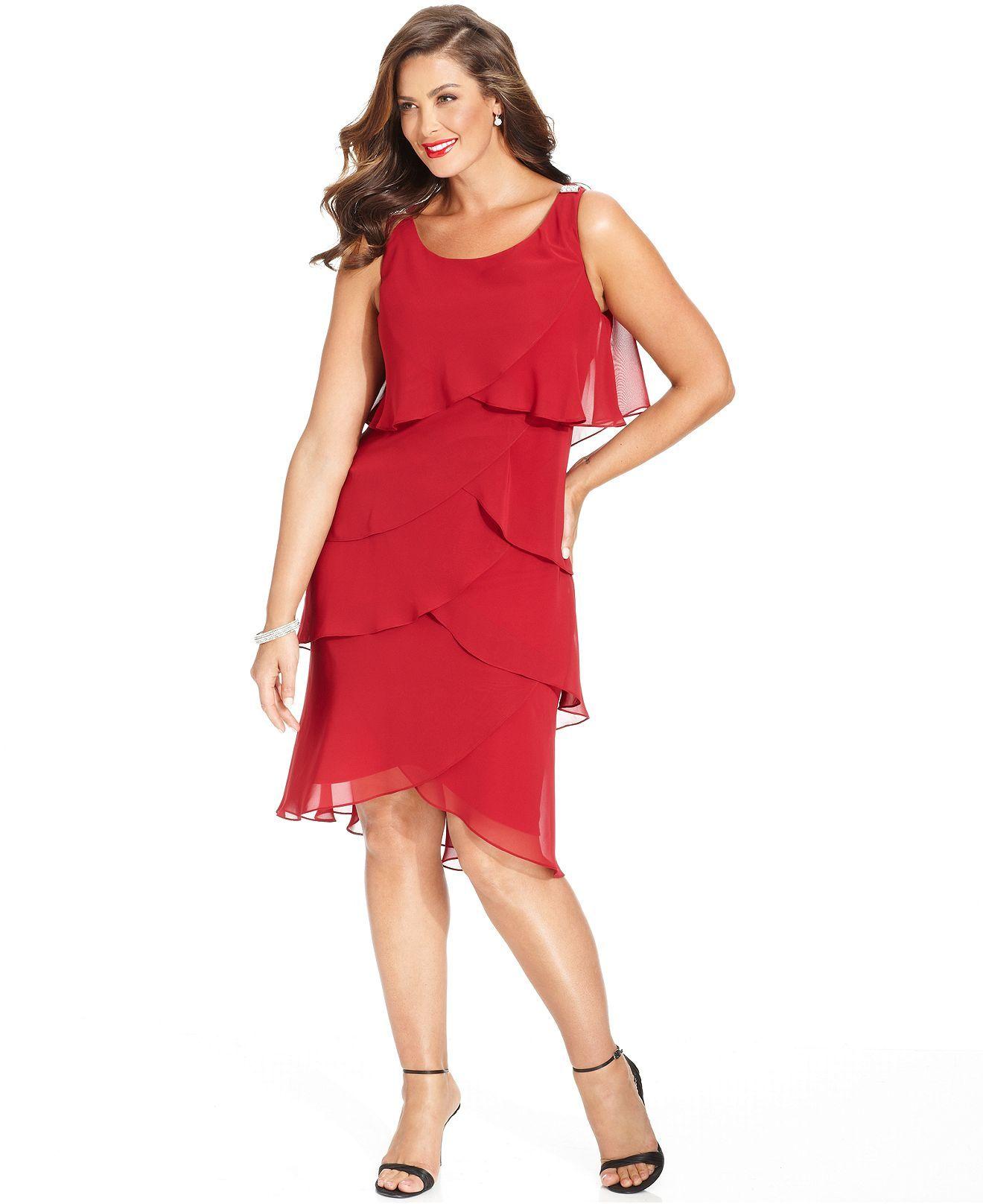 SL Fashions Plus Size Chiffon Tiered Dress - Plus Size Dresses ...