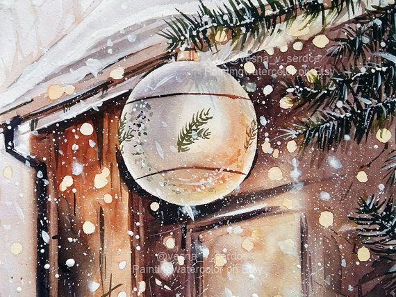 Christmas Original Watercolor New Year Winter Snow Drawing Decor Tree Light House Merry