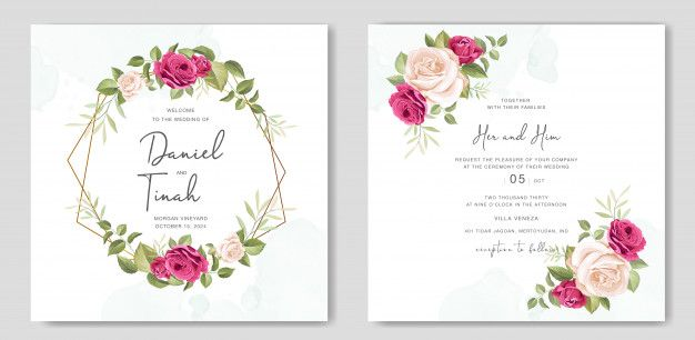 Beautiful wedding invitation card with f  Premium Vector