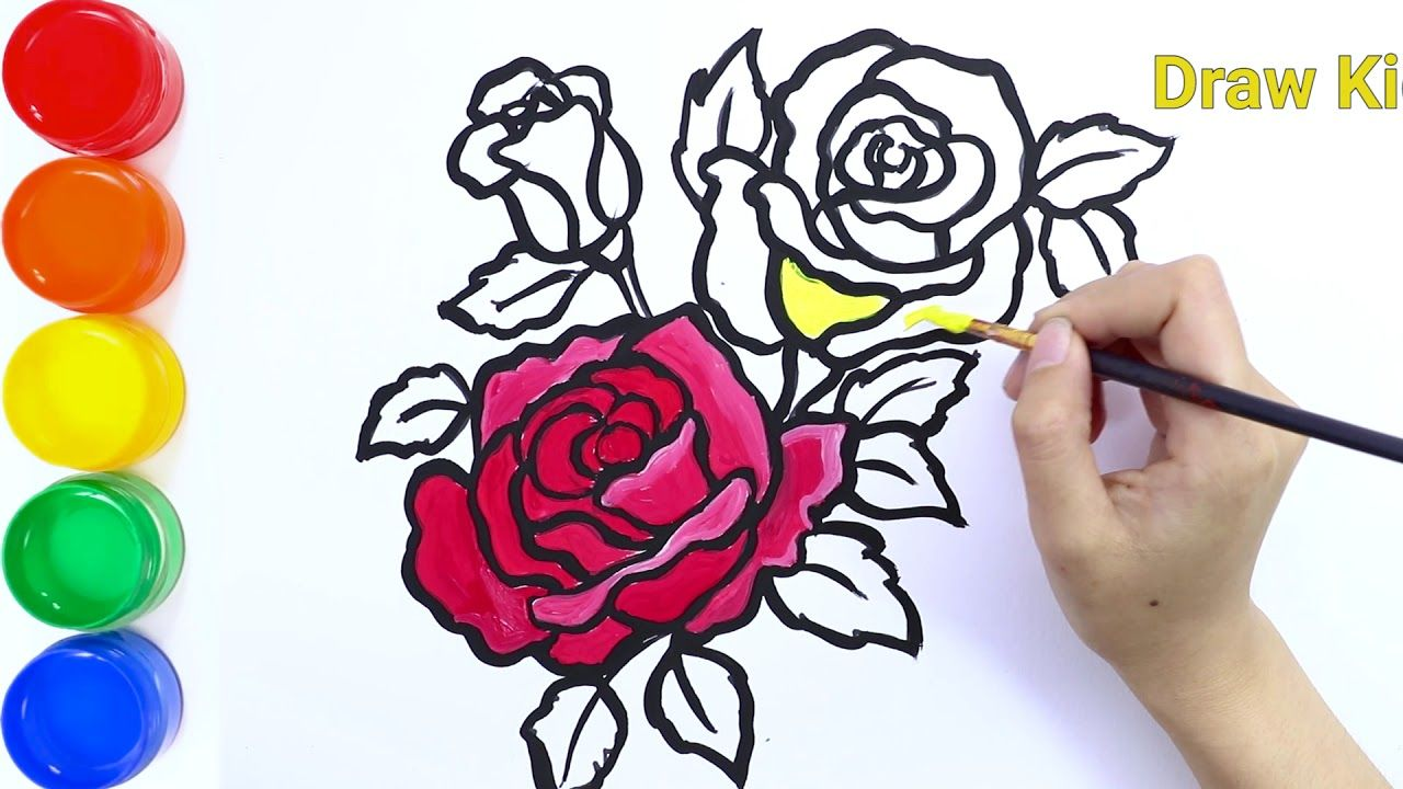 How To Draw Glitter And Coloring A Rose Flower For Kids Draw Kids Drawing For Kids Flower Drawing Roses Drawing