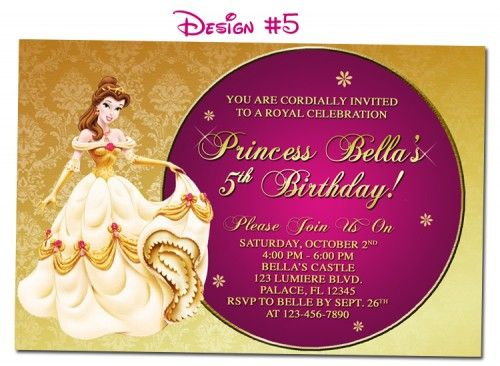 Belle Invitation Beauty the Beast Birthday Party DIY Printable