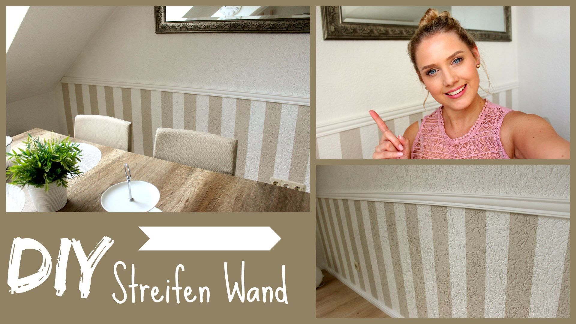 diy wandgestaltung streifenwand mit stuckleiste dekorasyon. Black Bedroom Furniture Sets. Home Design Ideas