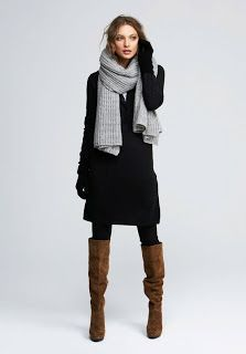 Pinterest black dress with brown boots