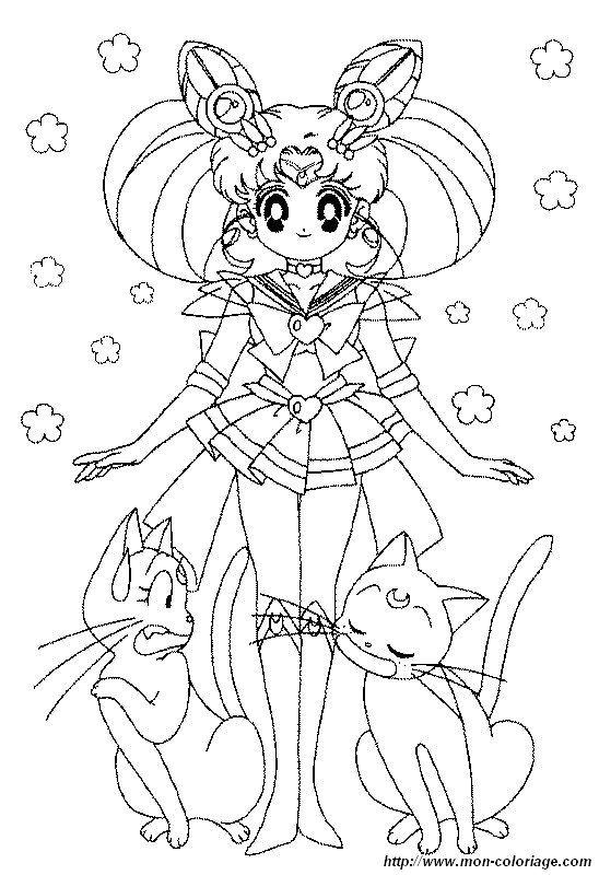 ausmalbilder sailor moon bild mit zwei katzen mit