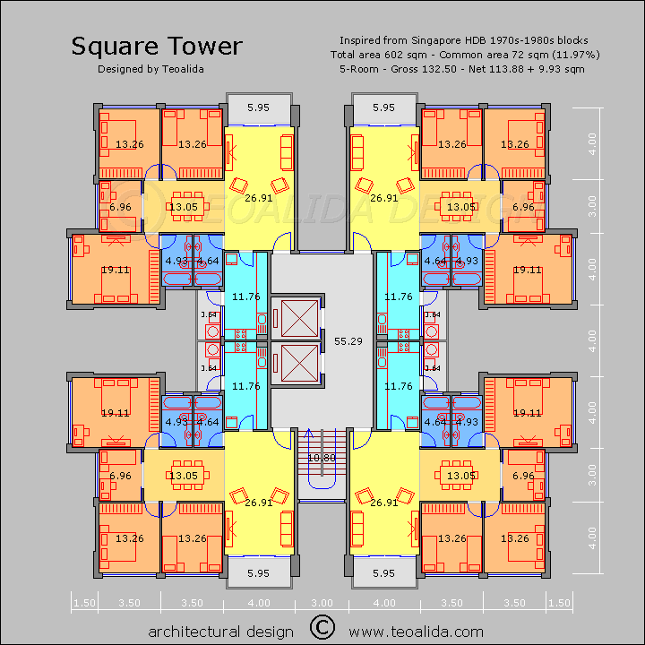 Captivating Square Tower Floor Plan, 130 Sqm 5 Room Apartments