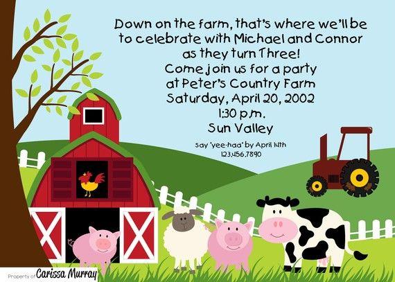 Farm Birthday Party Invites