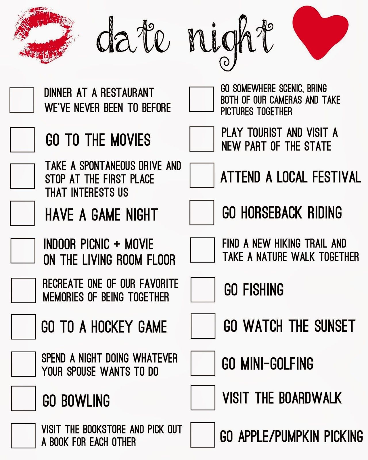 54 Date Ideas for Your Date Night