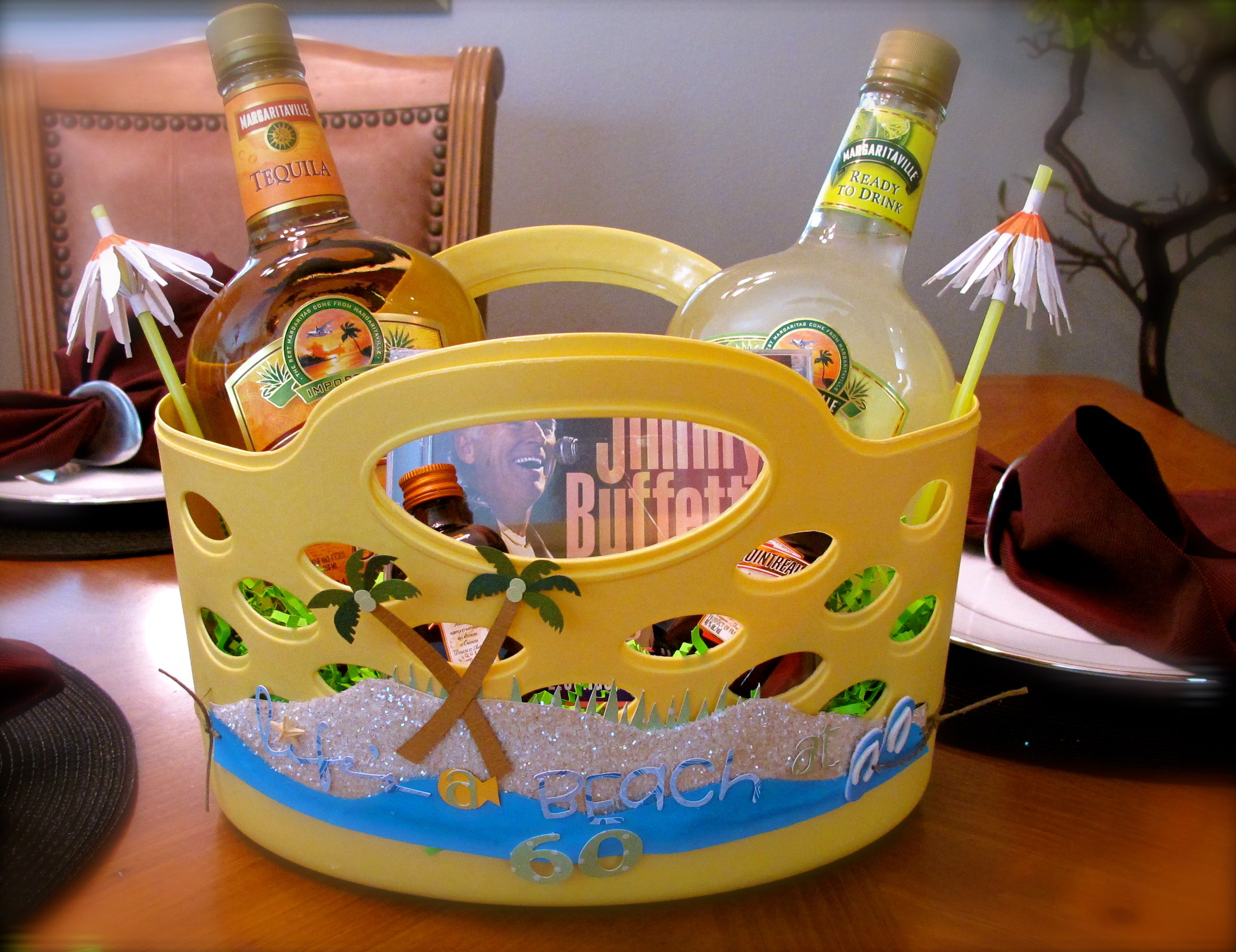 Margaritaville Gift Basket Also Be Cute With Beach Stuff Towels Sunscreen Glasses Etc