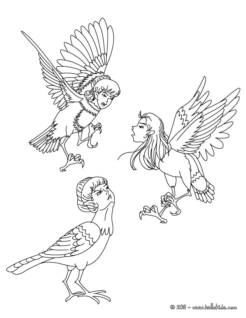 HARPIES the winged spirits coloring page | Magical Creatures ...