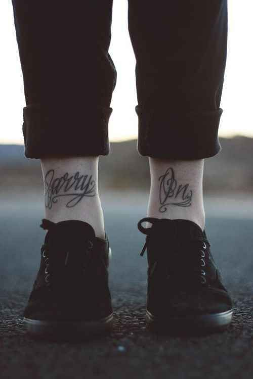Carry On Typography Tattoo Ankle Tattoo Men Front Ankle Tattoos