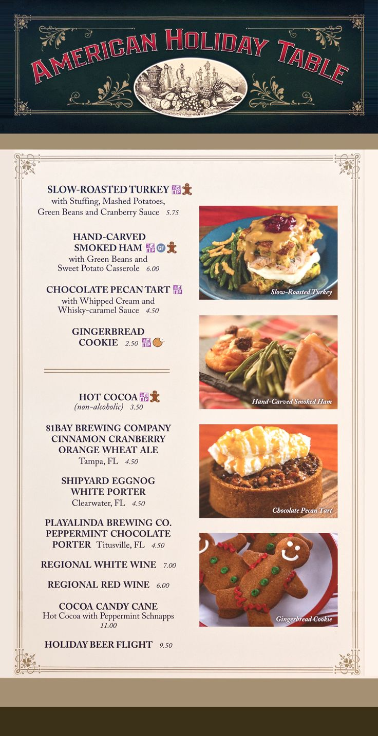 The 2019 American Holiday Table menu board with prices and