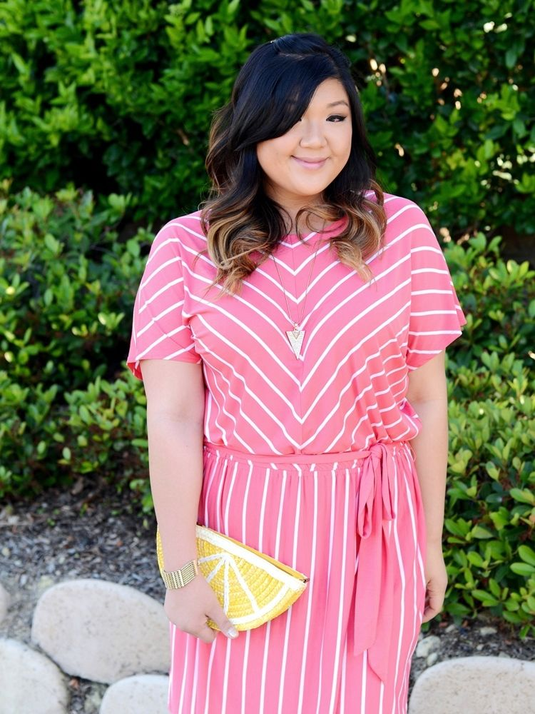 d0c7a5be342 Curvy Girl Chic Plus Size Fashion Blog Target Ava and Viv Striped Outfit  Ideas Coral Striped