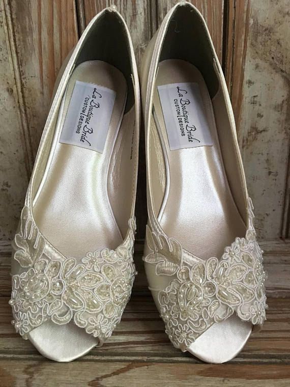 Open Toe One Inch Comfortable Wedge Embellished With Hand Beaded Lace Front And Pearls Down Back Heel Perfect For Lace Bridal Shoes Beaded Lace Bridal Shoes