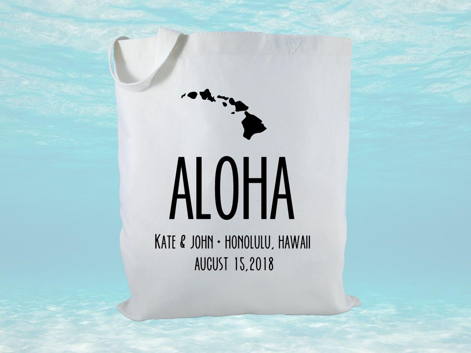 Personalized Aloha Wedding Welcome Bag, Canvas Tote Bag, Destination ...