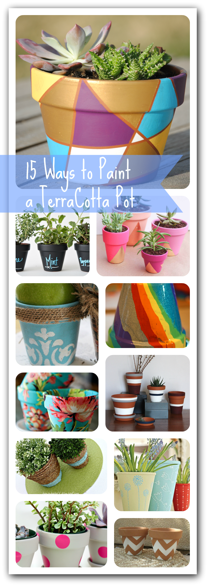 DIY TerraCotta Pot Roundup Ideas To Paint Your Own Pot - Diy two tone painted pots