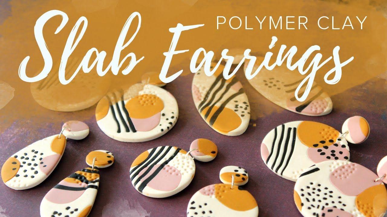 Easy Polymer Clay Slab Earrings Tutorial YouTube in 2020