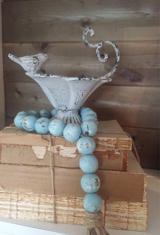 Large Turquoise Farmhouse Beads, Home Decor Beads, Wood ...