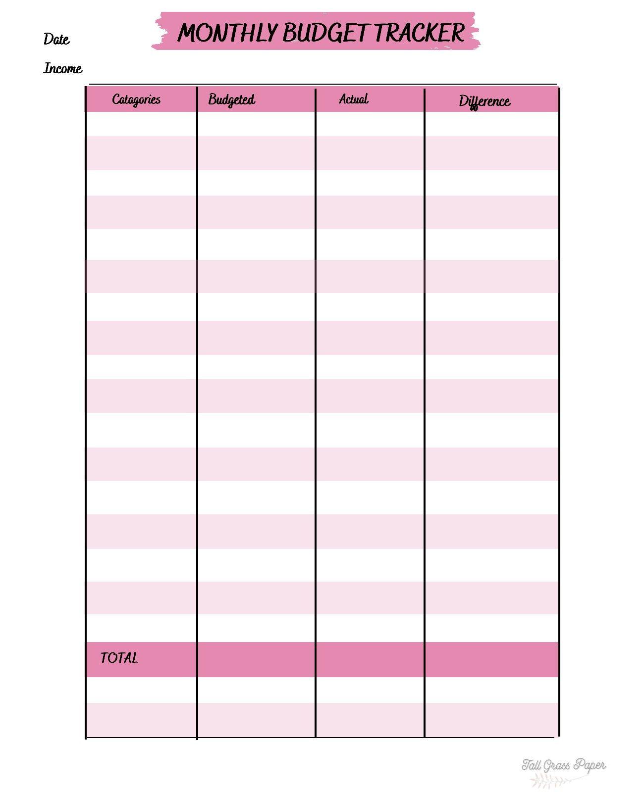 Budget Tracker Expense Tracker Money Tracking Sheet