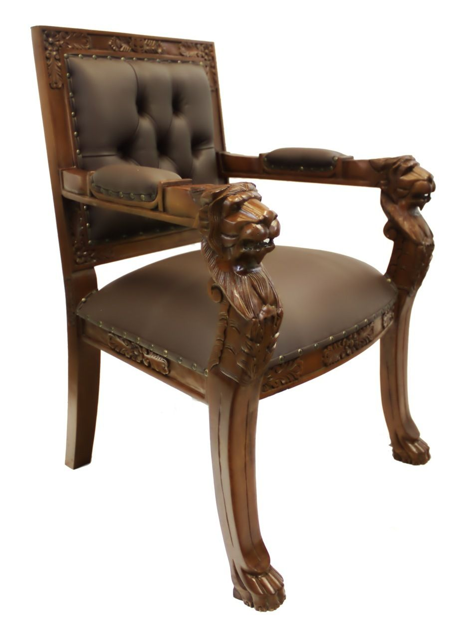 Oriental furnishings hand carved solid mahogany english lion head arm chair with faux leather upholstery