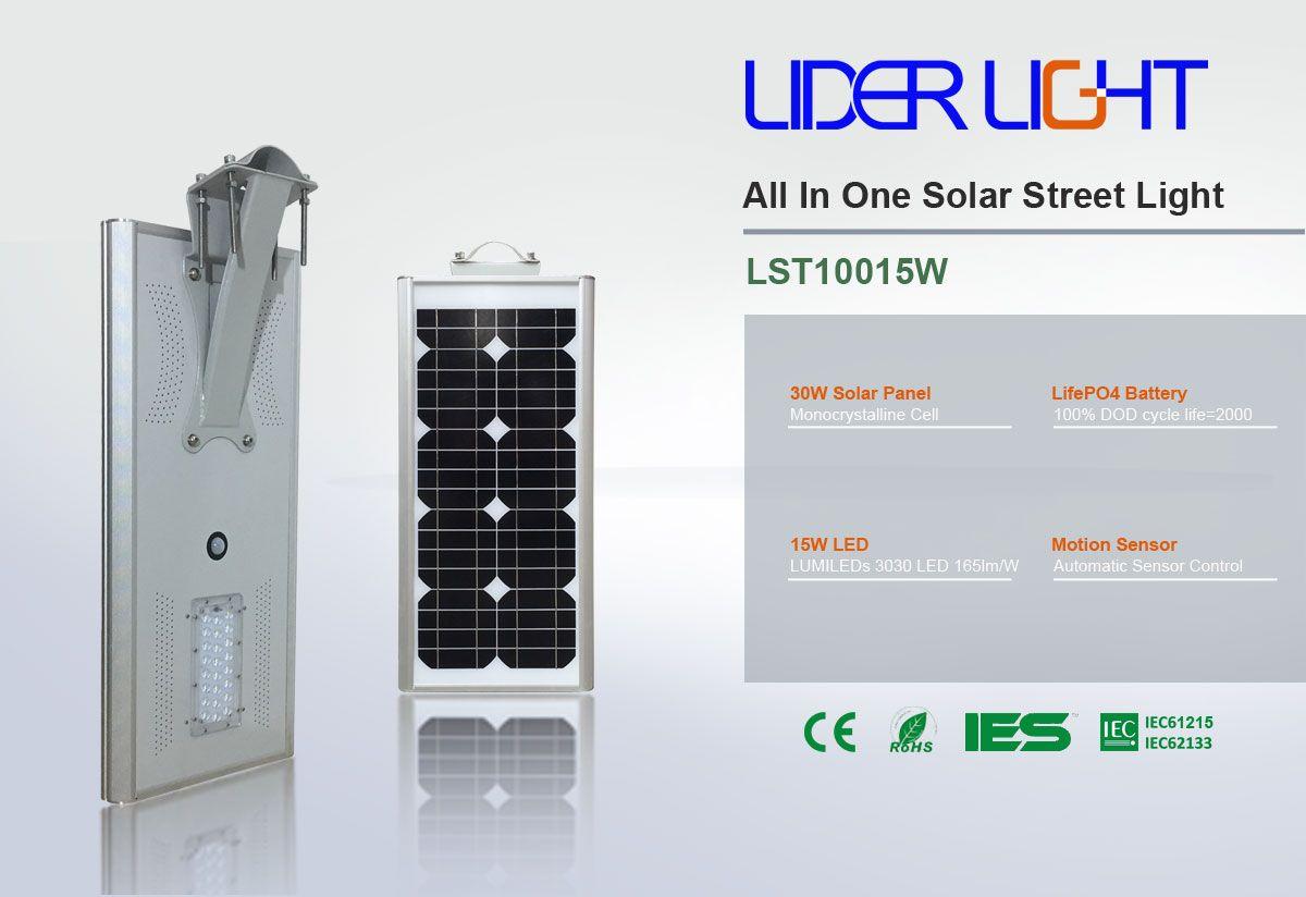 Solar Street Light All In One 15 Watts Lst10015w Lst1 Series Lider Light Shenzhen Co Ltd Solar Street Light Street Light Solar