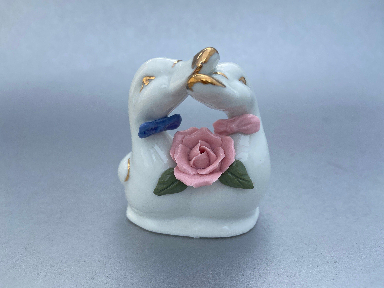 Vintage Ceramic Swan Ring Trinket Holder Mid-Century