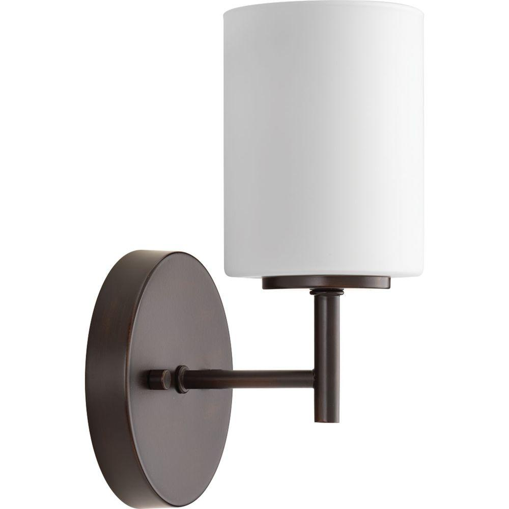 Progress Lighting Replay 51 in 1Light Brushed Nickel Bath Sconce with Etched Opal Glass ShadeP213109  The Home Depot Progress Lighting Replay