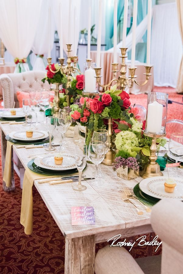 Floral Tablescape Of Mixed Green And Hot Pink Hues Centerpieces
