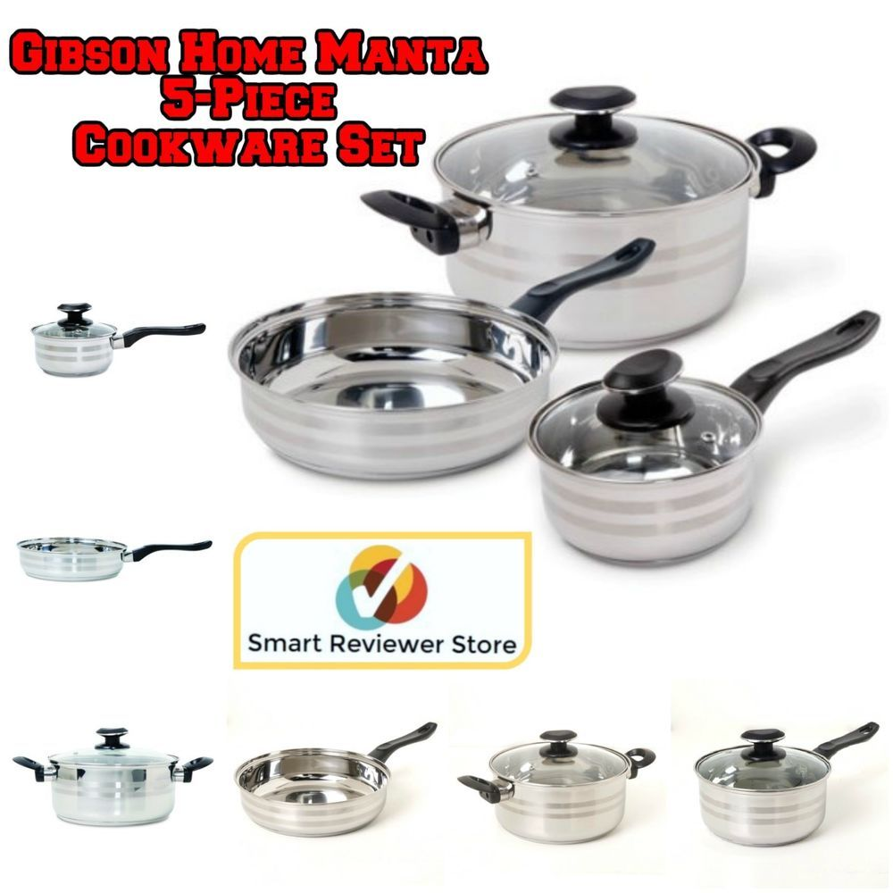 5 Piece Cookware Set Stainless Steel Kitchen Pots And Pans Cooking