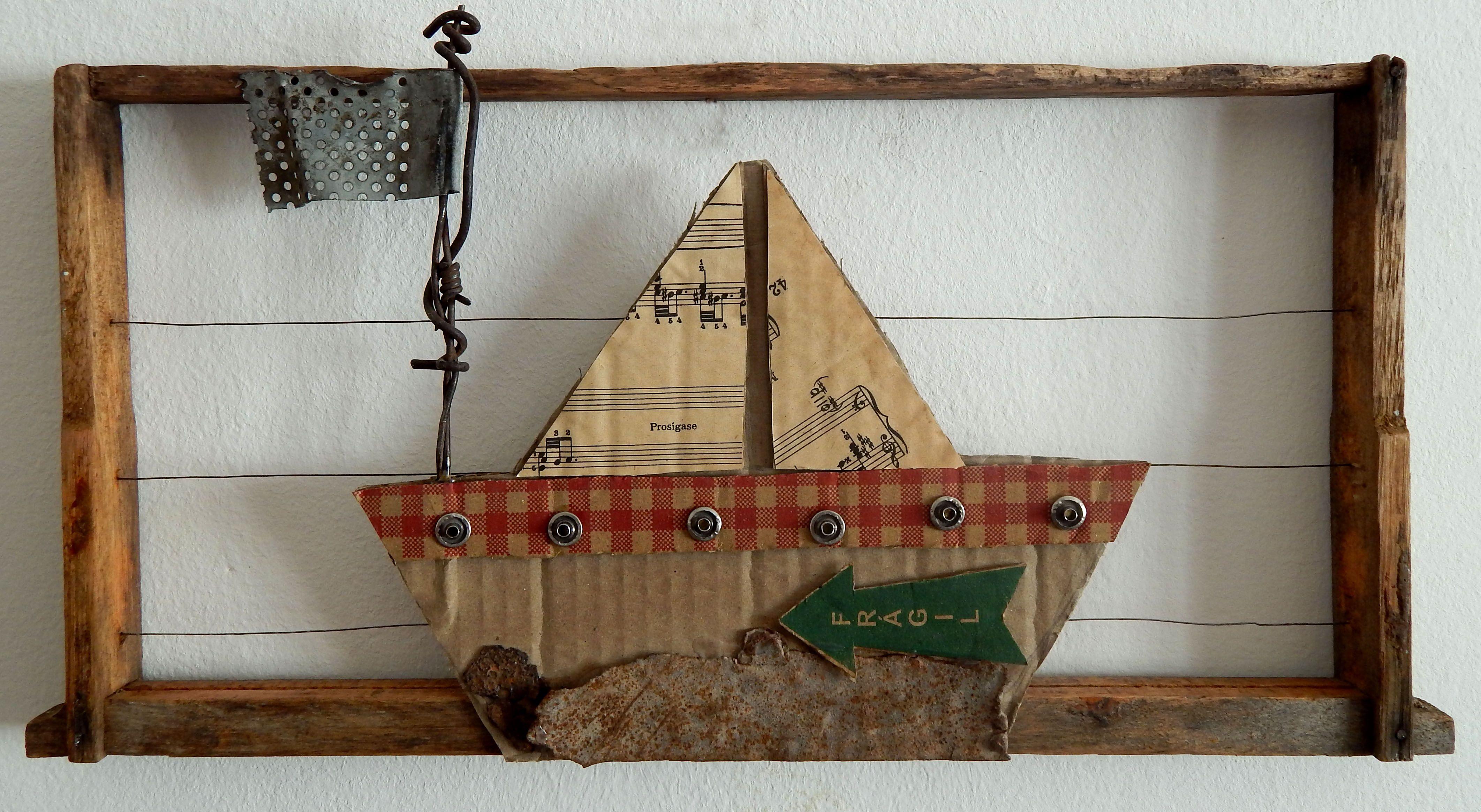 Melisa Rolandi Carton y chatarra s/ marco de madera. 48 x 24 cm ...