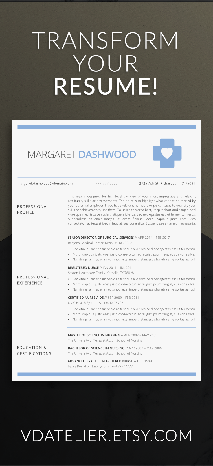Nurse Resume Template 5 Pages Nursing Resume Template Etsy Nursing Resume Template Nursing Resume Medical Resume