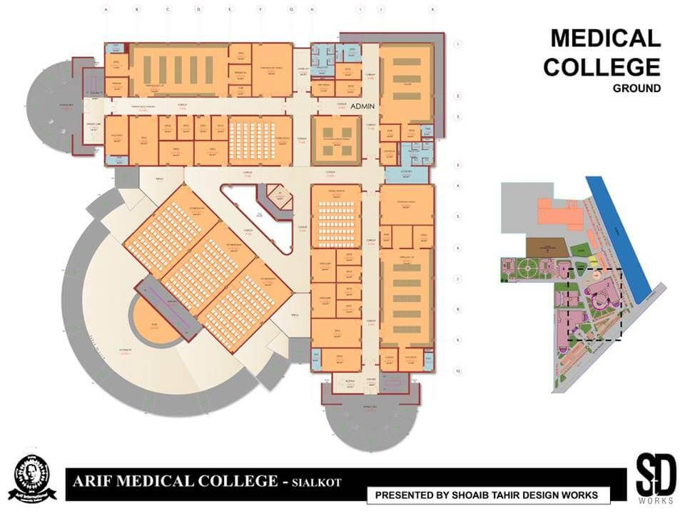 Medical College And Hospital Complex By Shoaib Tahir Design Works Building Design Floor Plans School Building Design Hospital Architecture School Building Plans