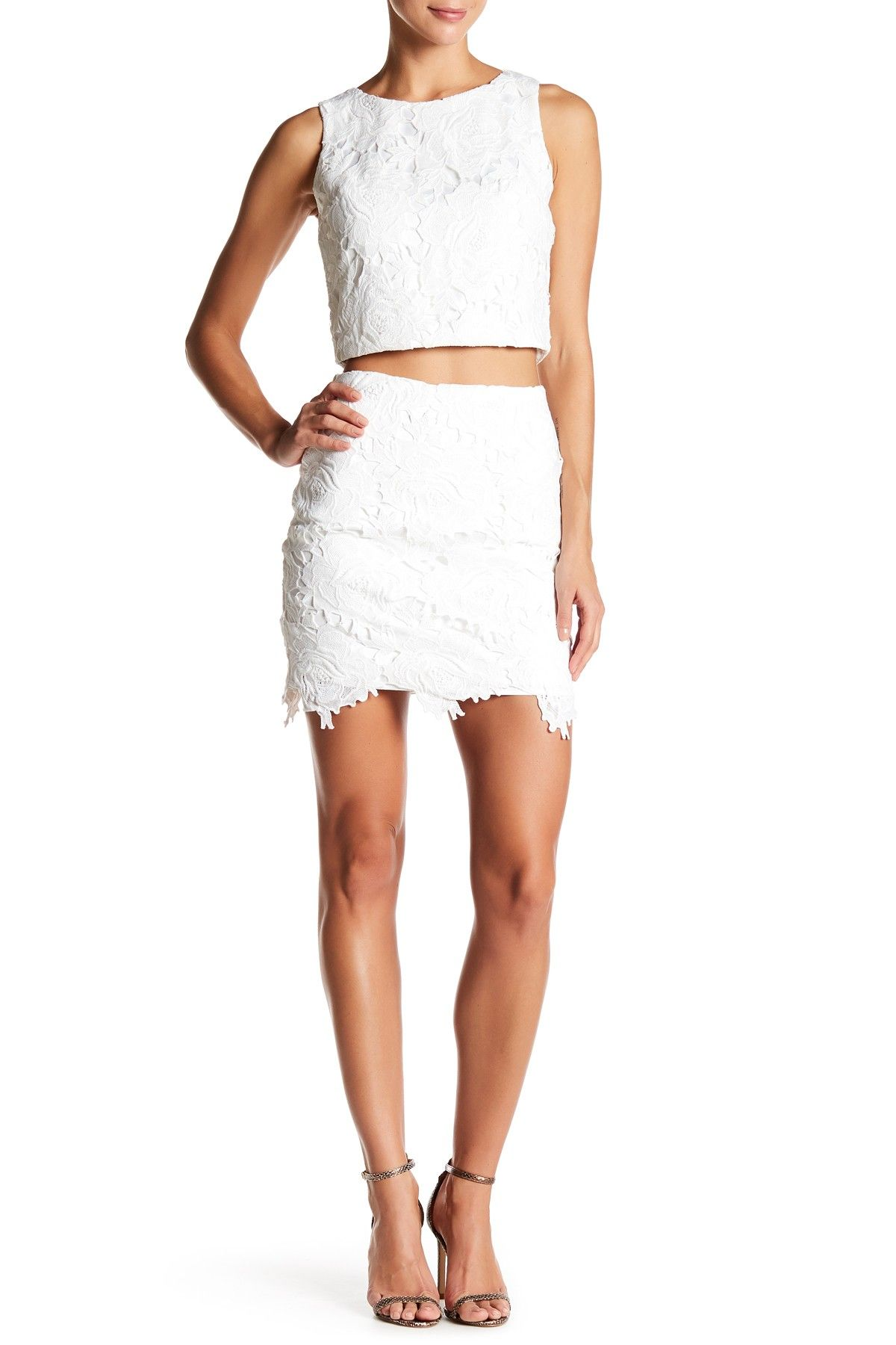 Lace Crop Top and Skirt Set | Sara Boo