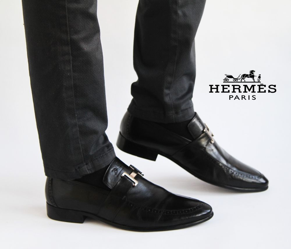 Men's shoes leather classic loafers loafer Hermes Paris