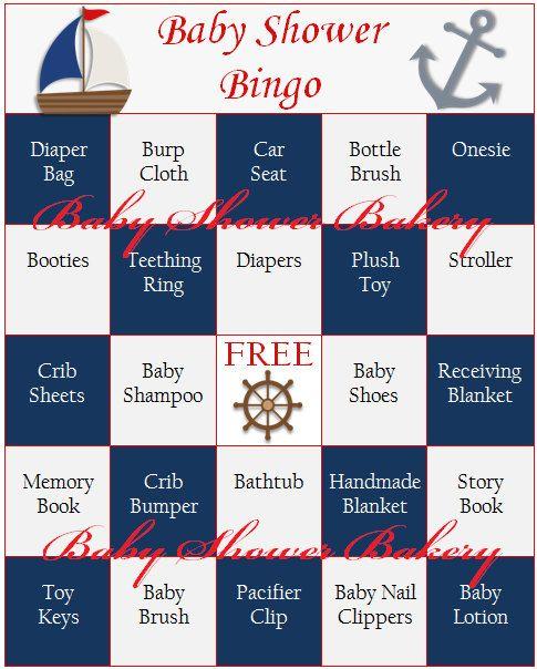 Nautical Baby Shower Game Nautical Baby Shower Bingo