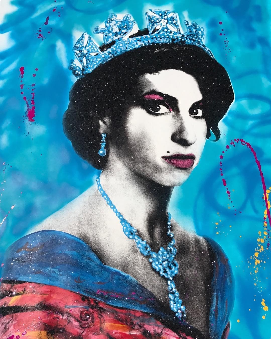 In honor of Amy Winehouse's bday I am releasing original 2017 rebooted Queen Amy Paintings available today!!! #skylergrey #avantgallery #amywinehouse