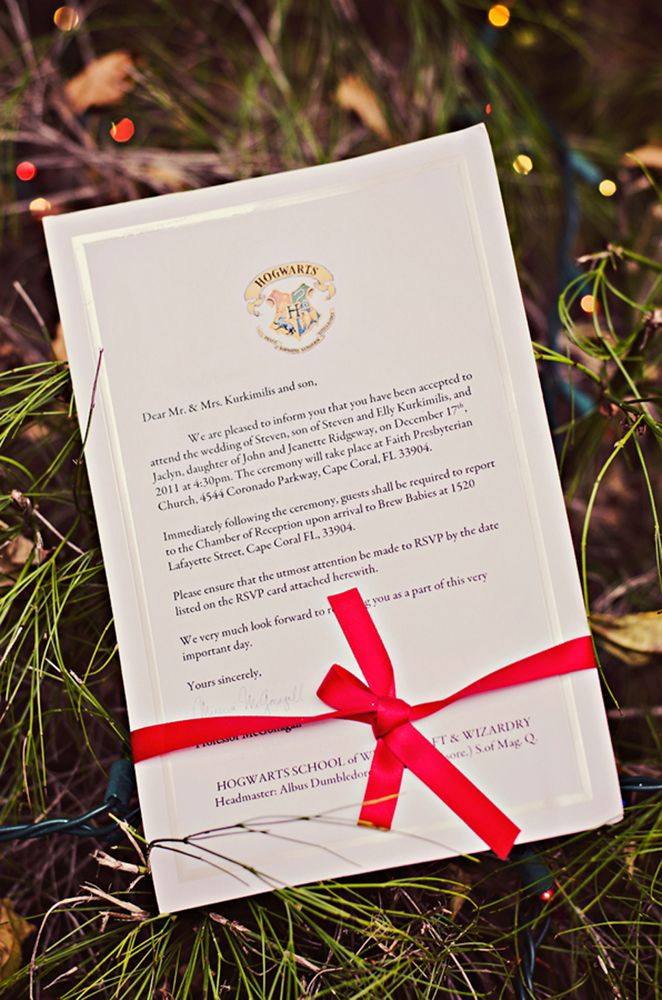 hogwarts acceptance letter wedding invitations