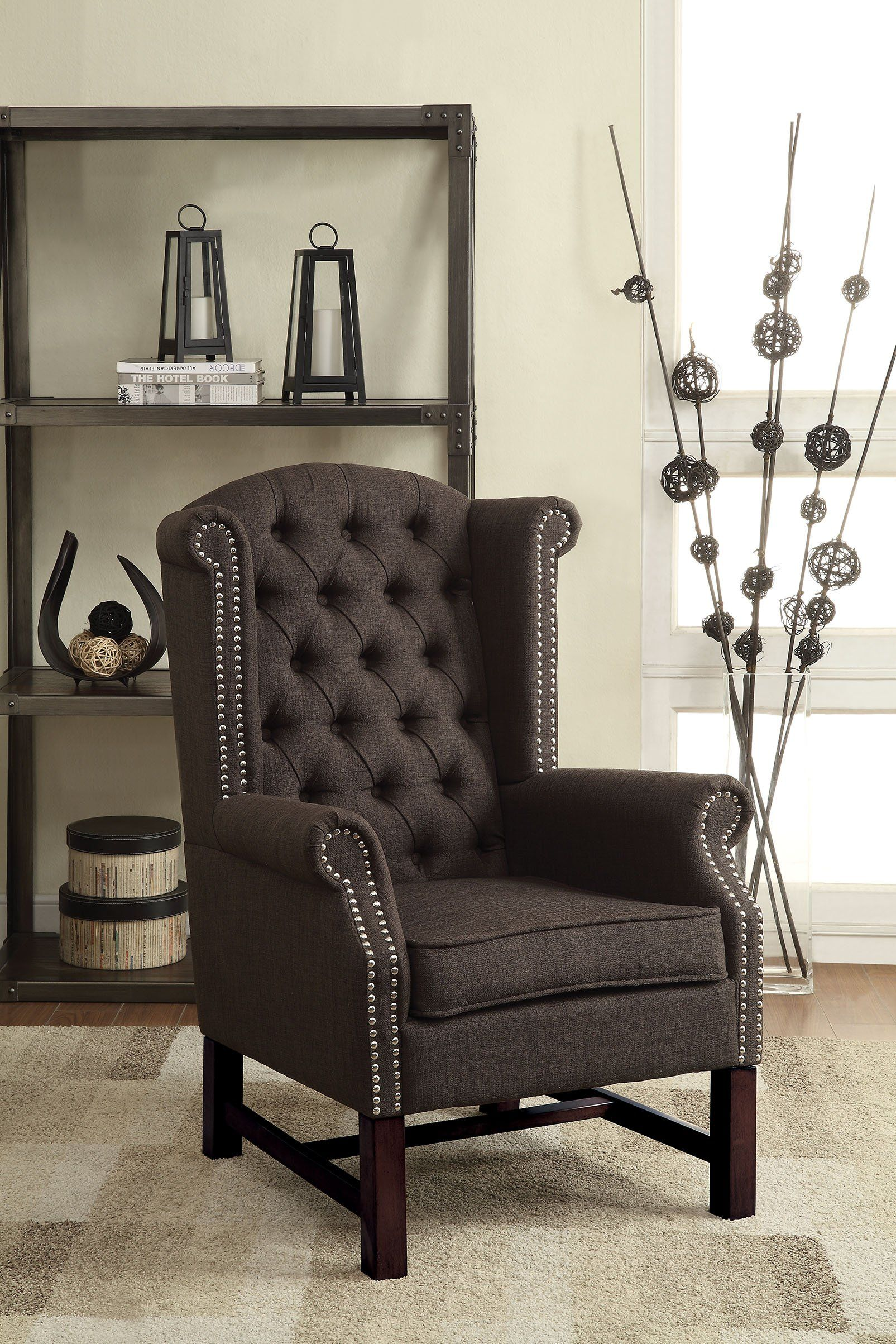 Pleasant Acme Manly Gray Fabric Accent Chair Living Room Designs In Dailytribune Chair Design For Home Dailytribuneorg