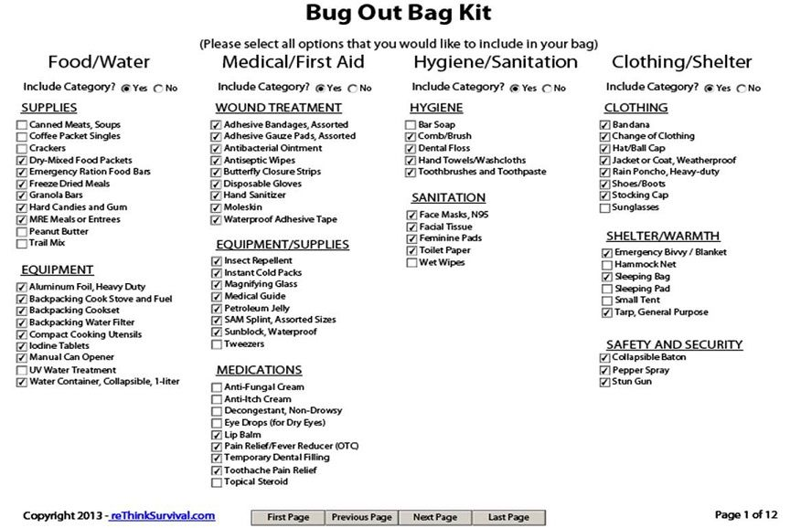 BUG OUT CHECK LIST | EMERGENCY PLANNING | Survival list, Bug out bag