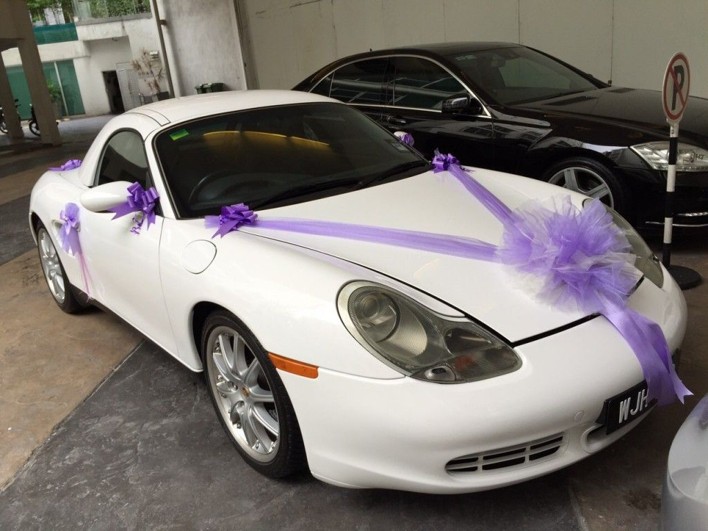Wedding decorations for car  Boxster S wedding car  My weddingdecor  Pinterest  Decoration