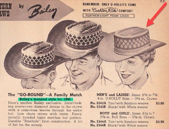 d27850079 Bailey's U-Rollit Vintage 1960 Straw Cowboy Hat. Cowgirl Small. Size ...
