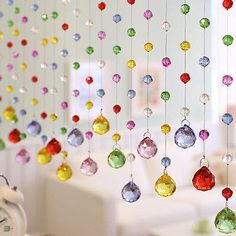 Luxury Color Crystal Glass Beads Custom Made Window Door Curtain Room Divider